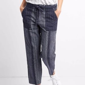 GAP Navy Striped Crop Pants Linen Cotton Small EUC